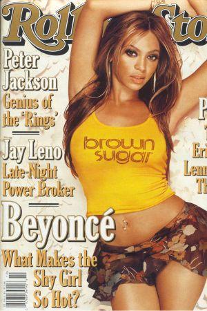 "Beyoncé Knowles på tidningen Rolling Stones pärm. Rubriken är ""What makes the shy girl so hot?""."