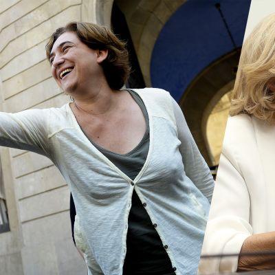 Barcelonan uusi pormestari Ada Colau (vas.) ja Madridin uusi pormestari Manuela Carmena.