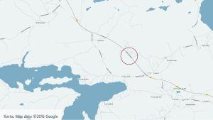 Karta på Bjärnåvägen.