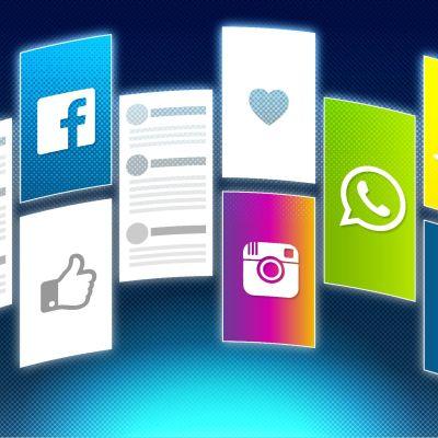 Grafik med olika sociala medie-tjänsters logon.