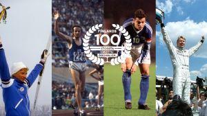 Marja-Liisa Kirvesniemi, Jari Litmanen, Lasse Virén och Mika Häkkinen, med logon för Finlands 100 största idrottsögonblick.