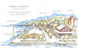 Skiss över outletbyn i Norra hamnen i Ekenäs.