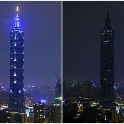 Kuvakollaasi normaalista ja pimennetystä Taipei 101 -pilvenpiirtäjästä.