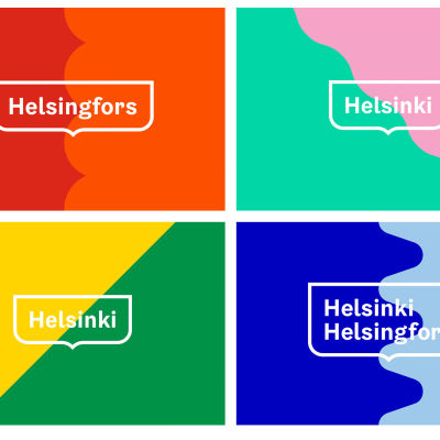 Exempel på Helsingfors stads nya visuella identitet.