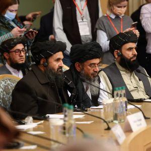 Taliban-liikkeen edustajia kansainvälisessä konferessissa Moskovassa maaliskuussa 2021.