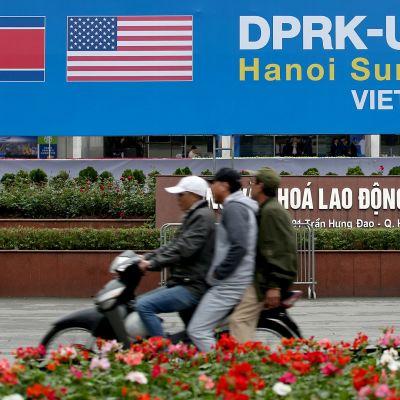 Katukuvaa Hanoista, missä Kim Jong-unin on määrä tavata Yhdysvaltain presidentti Donald Trump ensi viikolla.