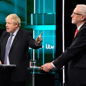 Corbyn och Johnson i tv-debatt.