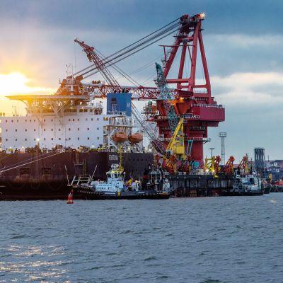 Venäläinen Fortuna -niminen laiva asentamassa Nord Stream 2 kaasuputkea.