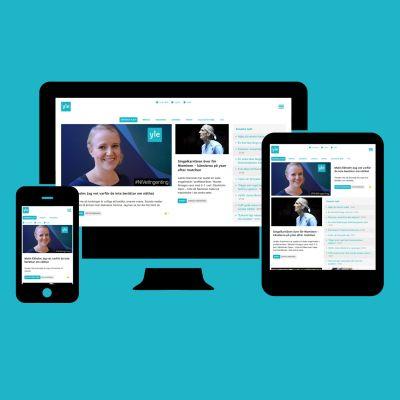 Bilder av Svenska.yle.fi i mobilen, pekplattan och stationär dator