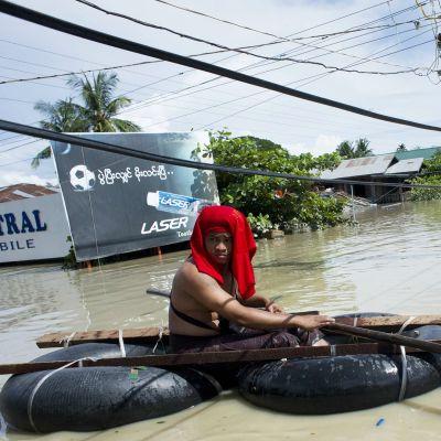 Kuva tulvivasta Kalayn-kylästä 1. elokuuta.