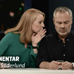 """En bild på Annie lööf och jan björklund. På bilden finns en stämpel där det står """"Analys Linda Söderlund"""""""