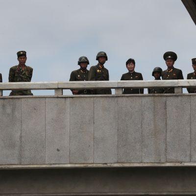 Pohjoiskorealaisia sotilaita katselemassa etelän puolelle Koreoiden välisessä jaetussa Panmunjomin kylässä.