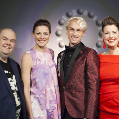 De Eurovisa Johan Lindroos, Mia Hafrén, Christoffer Strandberg och Eva Frantz.