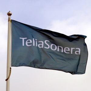 Flagga med Telia Soneras logga.