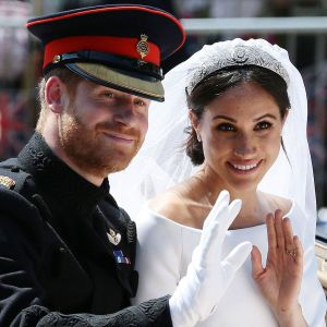Prins Harry och Meghan Markle när de gifte sig.