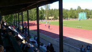 Bild från läktaren av Nickby centralidrottsplan under Lival-games 28.6
