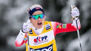 Therese Johaug skidar.
