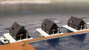 Skiss av tre grå flytande hus vid en brygga.