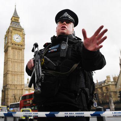 Aseistettu poliisi partioi parlamenttitalon edustalla keskiviikkona.