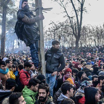 Siirtolaisia Turkin ja Kreikan rajalla.