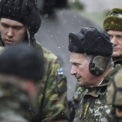 Presidentti Sauli Niinistö tarkastaa Panssariprikaatia maastopuvussa.