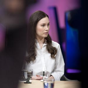 Sanna Marin TV1:n Ykkösaamussa.