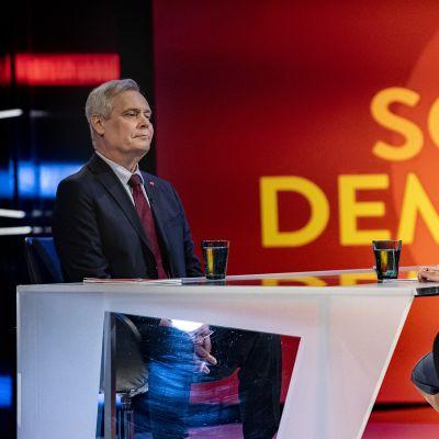 Antti rinne Ylen Vaalitentissä 25.03.2019.