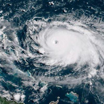Dorian-myrsky satelliittikuvassa.