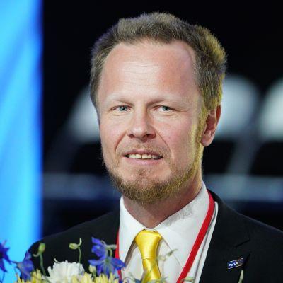 Varapuheenjohtaja Juho Eerola Perussuomalaisten puoluekokouksessa  29. kesäkuuta 2019.