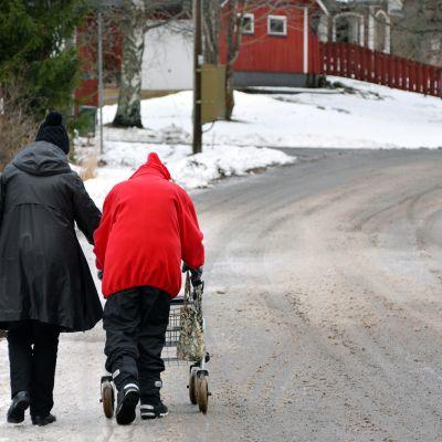 Kaksi naista kävelee lumisessa maisemassa.