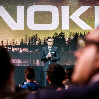 Rajeev Suri Nokian tiedotustilaisuudessa helmikuussa 2019.