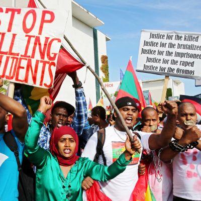 Kuvassa Berliinissä osoitetaan mieltä vuonna 2016 Etiopian hallintoa vastaan.