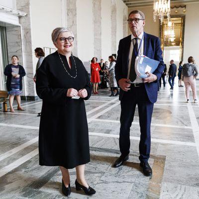 Kuvassa ovat Anu Vehviläinen ja Matti Vanhanen.