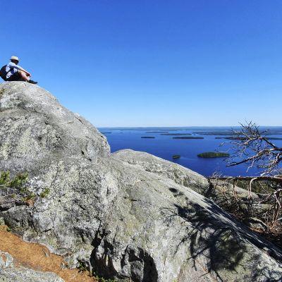 Matkailija Kolilla Kolin kansallispuistossa 20. kesäkuuta 2020.