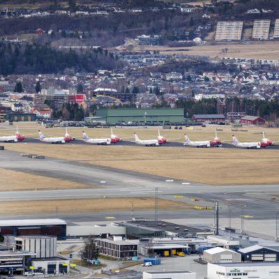 Kuvassa on Norwegianin lentokoneita lentokentällä Trondheimissä huhtikuussa 2020.