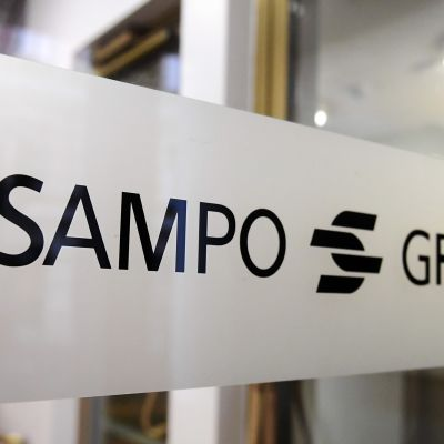 Sampo Groupin tunnus yhtiön pääkonttorin ovessa Helsingissä keskiviikkona 7. marraskuussa 2018.