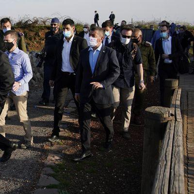 Kuvassa on Mike Pompeo Israelissa.
