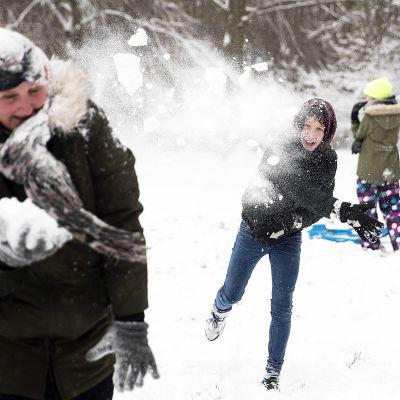Ihmiset leikkivät lumisotaa Hollannissa.
