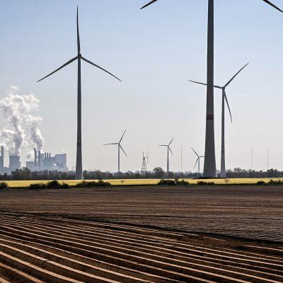 Tuulivoimaloita ja taustalla hiilivoimala.