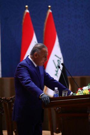 Kadhemi lovade i sitt första tal som premiärminister att ta itu med coronapandemin, nyval och Iraks urusla ekonomin.
