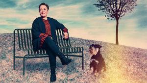 En kvinna sitter på en parkbänk med en hund i koppel bredvid sig.