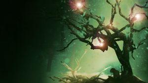 Ett knotigt träd i siluett mot en mörk himmel där tre klara stjärnor lyser fram.