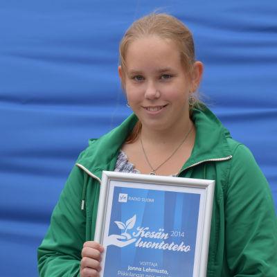Jonna Lehmusto voitti Kesän luontoteko -kilpailun.