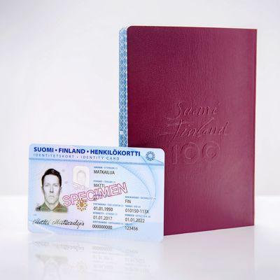 Bild på finländskt identitetskort och pass.