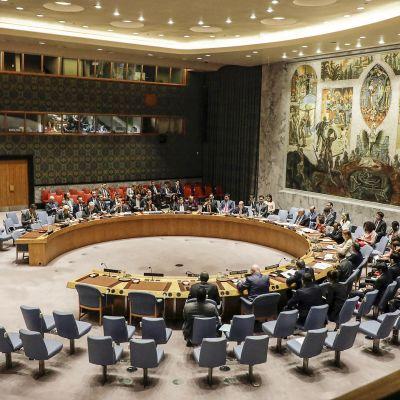 neuvoston jäsenet istuvat isossa salissa