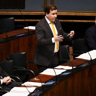 Kuvassa on perussuomalaisia eduskunnan täysistunnossa.