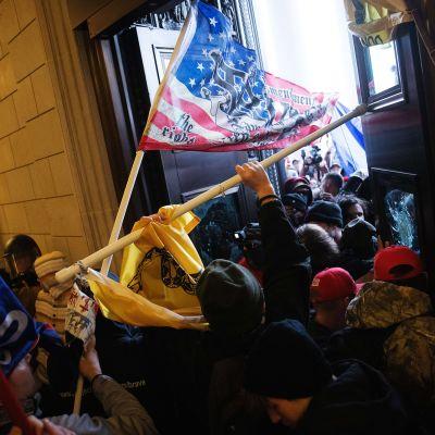 Mielenosoittajat tunkeutuivat sisään.
