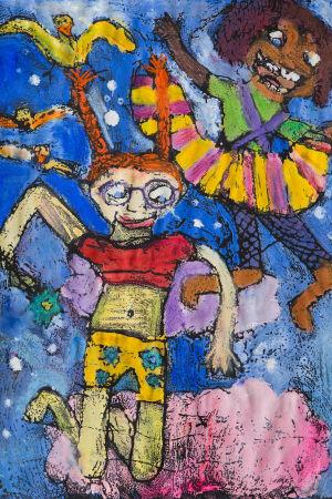 Färgrann teckning föreställande två flickor av olika börd symboliserande vänskap av Kaisla Holkko.