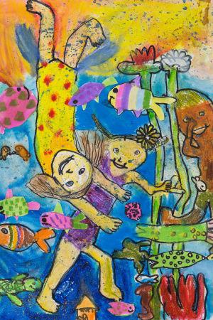 färgrann teckning som symboliserar vänskap av Hilma Holkko.