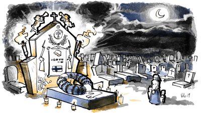 illustration av hjältegrav och sörjande familj, kransar och gravgård